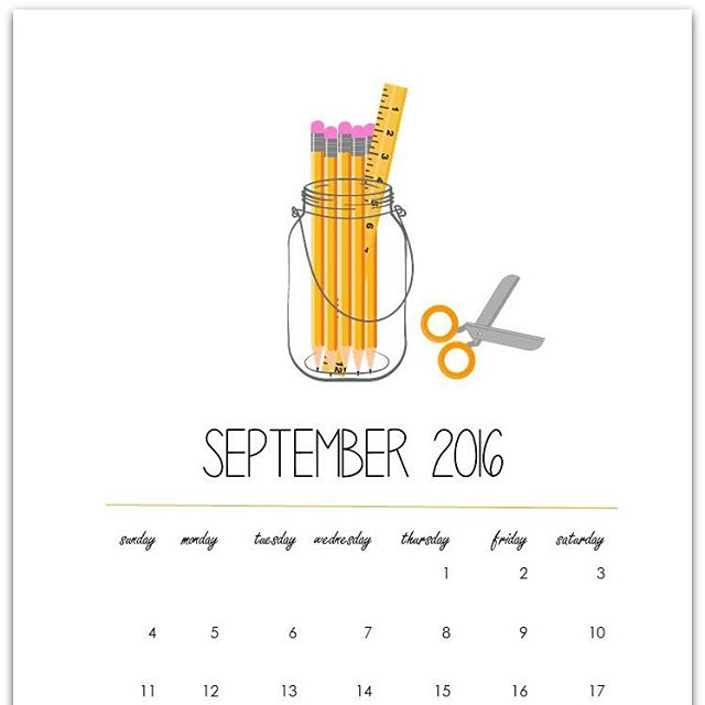 masonjar free calendar page for September 2016 Link to downloadhellip