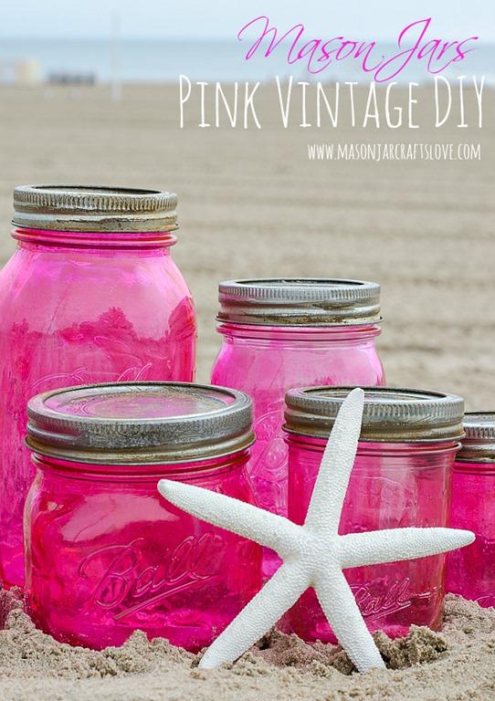 Pink vintage look mason jars mason jar crafts love for Mason jar crafts love