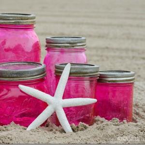 pink-mason-jars-vintage-look-with-mod-podge