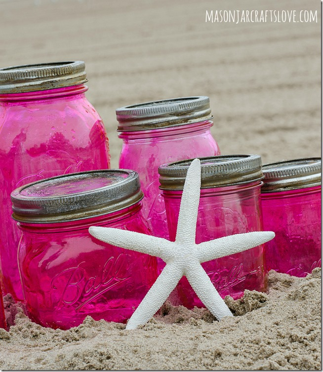 Pink Mason Jars DIY with Mod Podge and Food Coloring-7