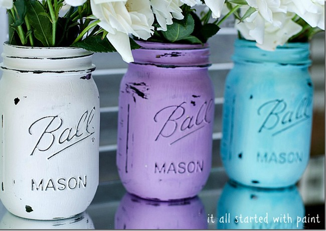 mason-jars-painted-distressed-it all started with paint 750