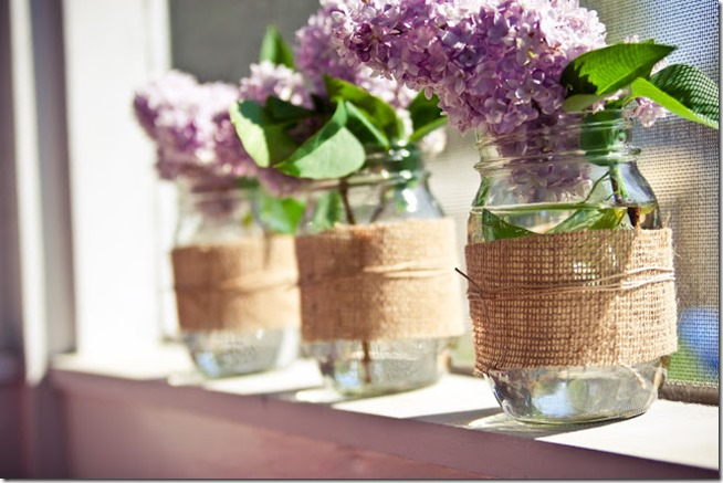 Burlap Mason Jar Vase Mason Jar Crafts Love