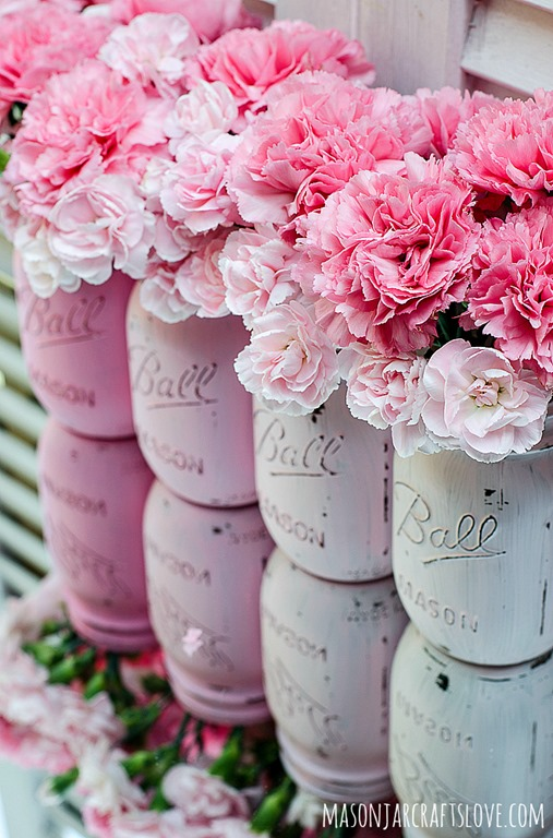 pink mason jars with pink flowers, eventsojudith