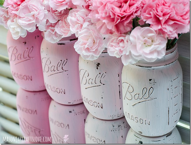 Painted Mason Jars: Pink