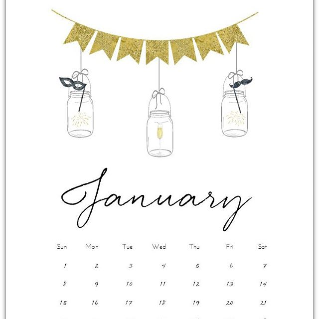 freeprintable calendarpage masonjar January 2017