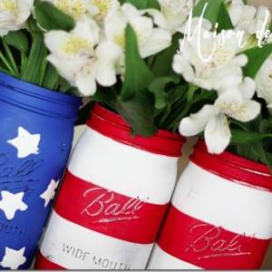 american flag mason jar painted