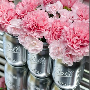 silver spray paint on mason jars