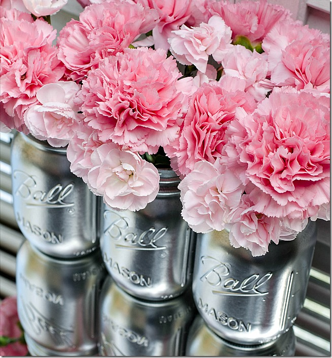 Spray Paint Mason Jars - Silver Mason Jars