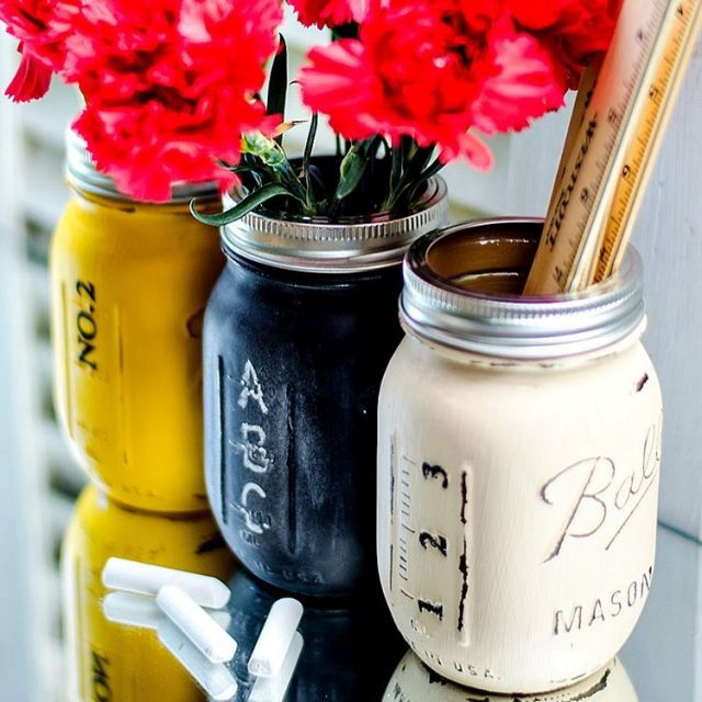 My own creation Pencil chalkboard and ruler mason jars backtoschoolhellip