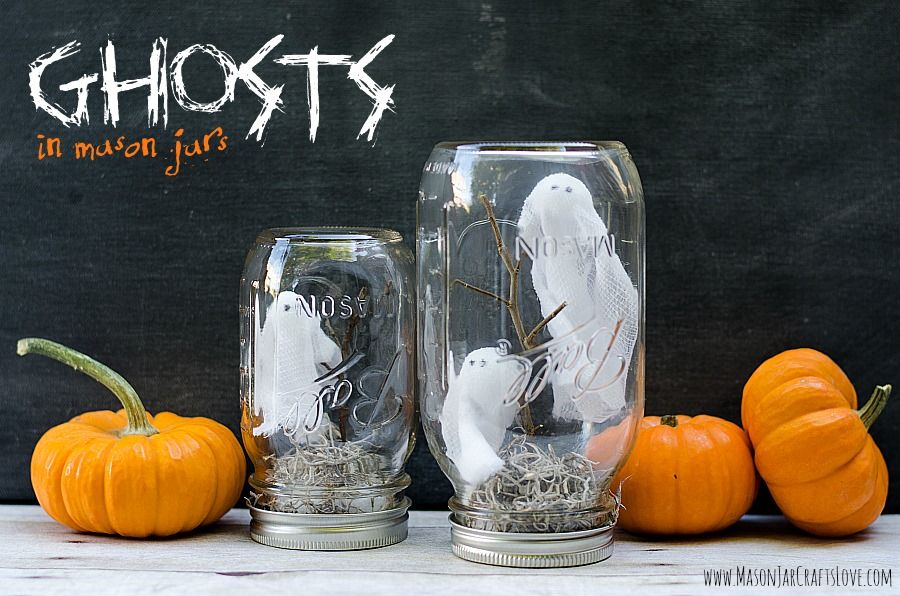 Ghosts In Mason Jars - Mason Jar Crafts Love