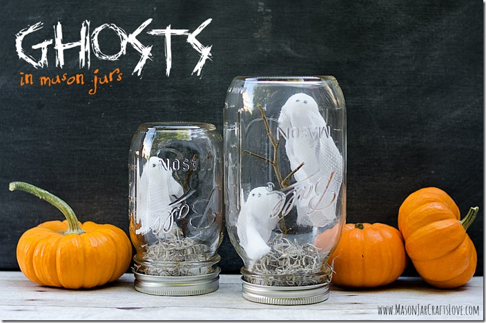 Ghosts in Mason Jars Halloween Craft Ideas with Mason Jars