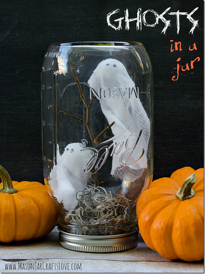 Ghosts in Mason Jars - Halloween Craft Ideas for Kids