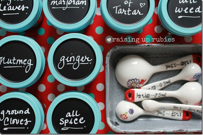 chalkboard spice jars ♥ raising up rubies.blogspot.com