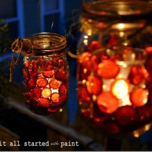 fall decor mason jar votive