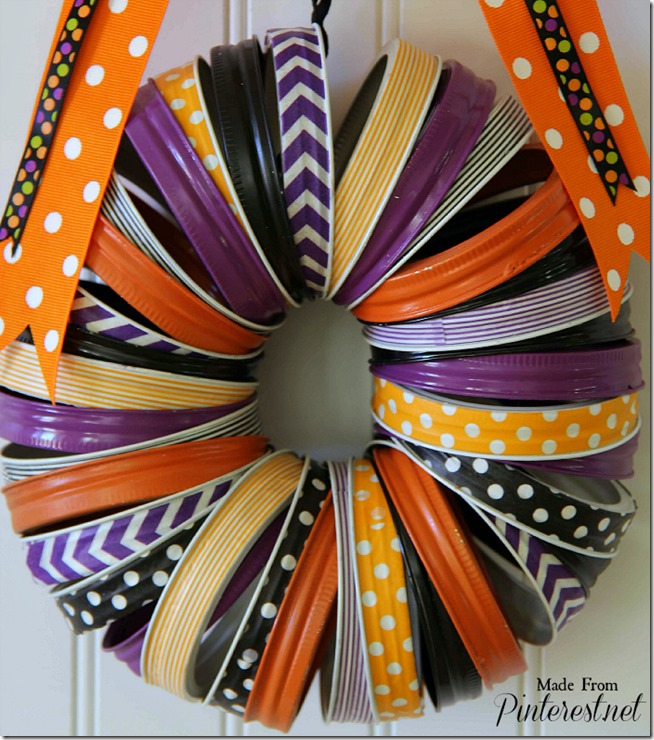Halloween Washi Tape and Mason Jar Rings Wreath