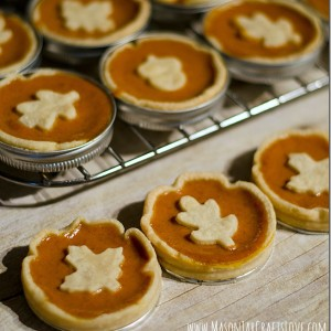 Mini Pumpkin Pies Baked in Mason Jar Lids