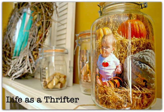 fall-mason-jar-photo-display-mantel