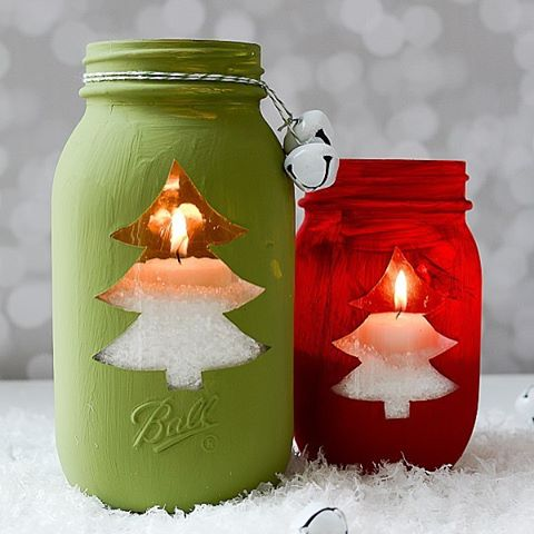 Make christmas tree votives with new ballcanning smooth sided masonhellip