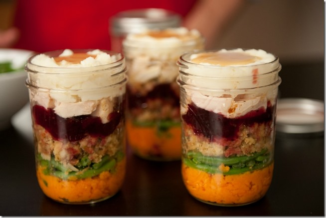 Thanksgiving Leftovers in Mason Jars