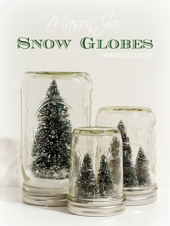Mason Jar Bottle Brush Tree Snow Globes - Anthropologie Inspired