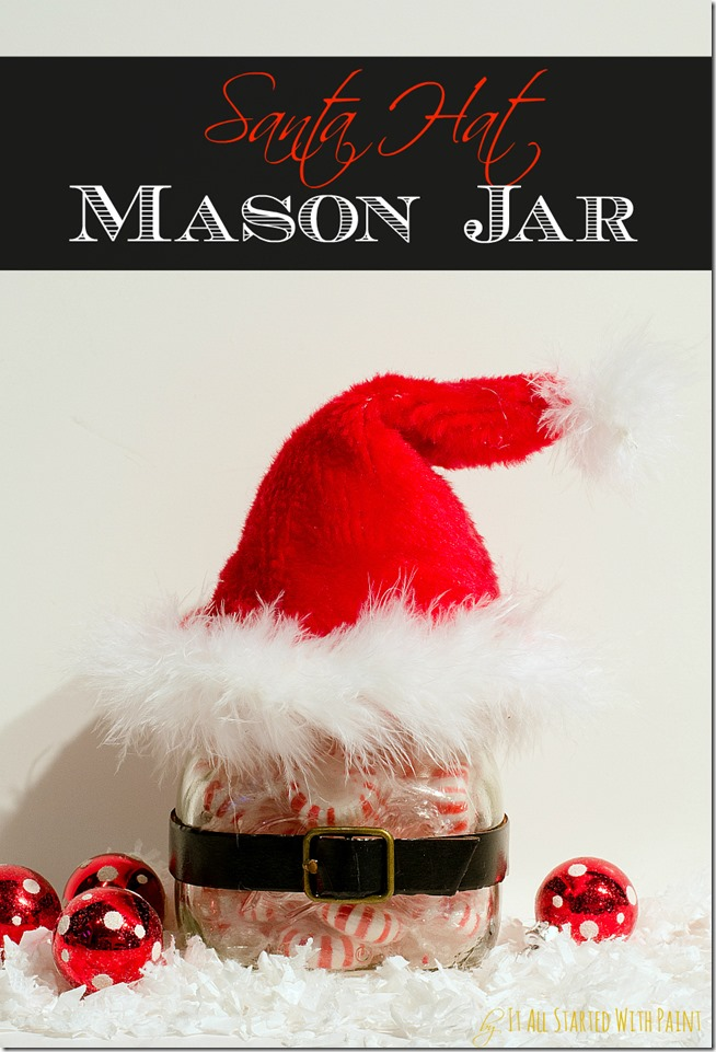 DIY Mason Jar Santa Hat