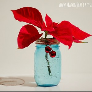 Poinsettias in Mason Jars