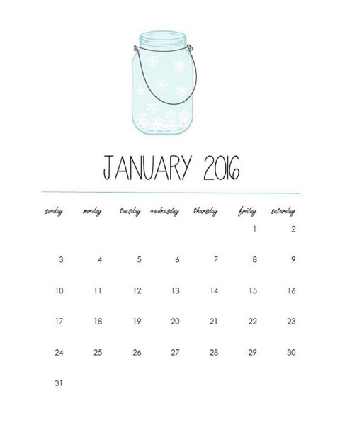 Sharing a freeprintable masonjar calendar page for January on thehellip