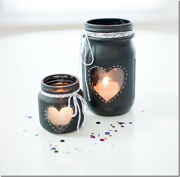 chalkboard heart mason jars