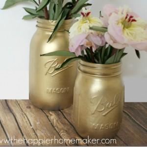 Gilded Gold Mason Jars