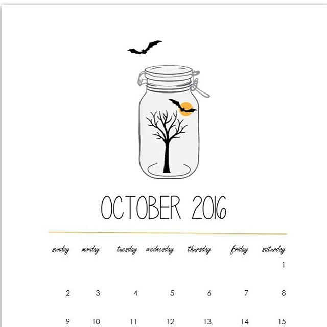 October masonjar calendarpage freeprintable link to download in profile