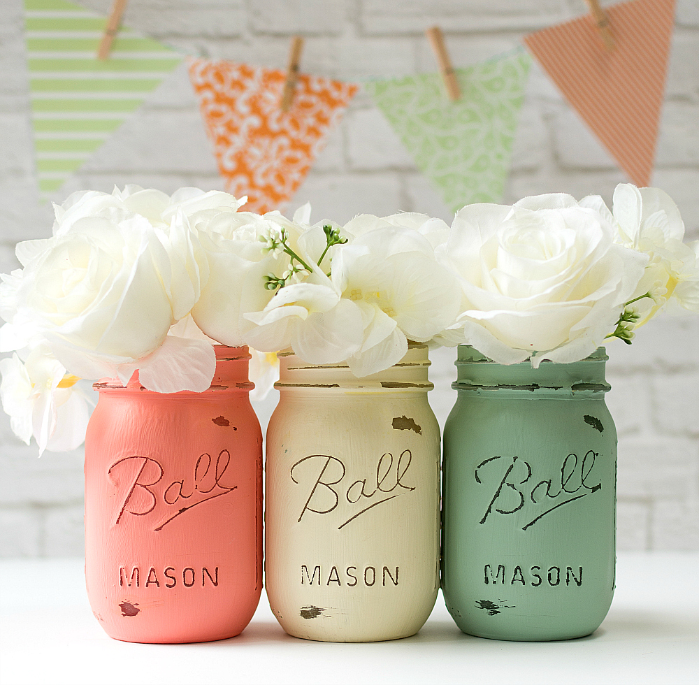 Mint Coral Wedding Mason Jar Vases
