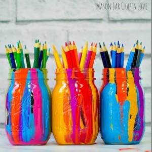 Paint Drip Mason Jars