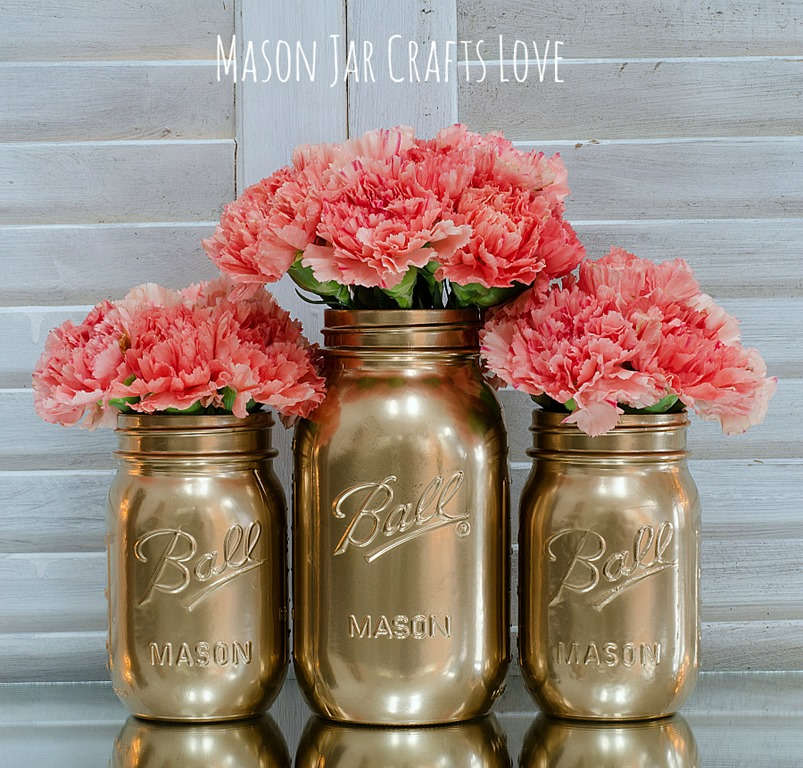gold painted mason jars 5