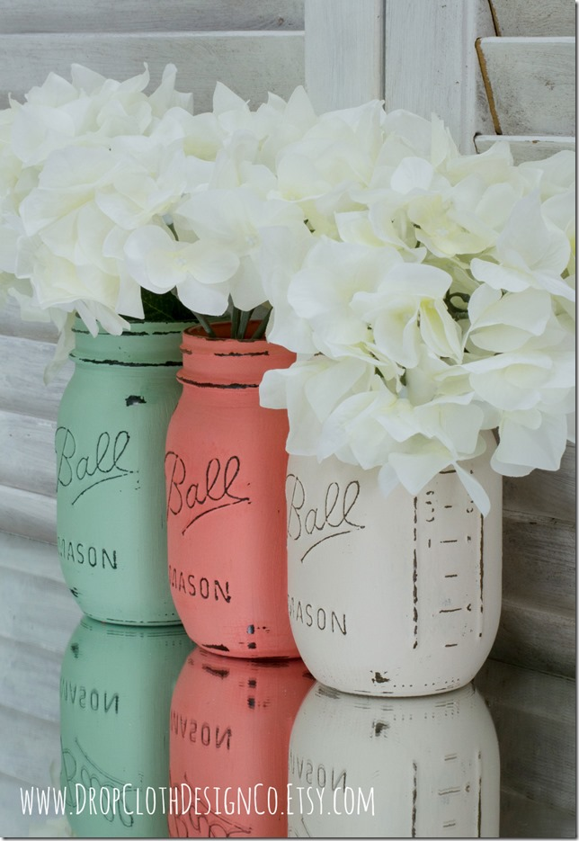 mint-green-coral-white-painted-mason-jars