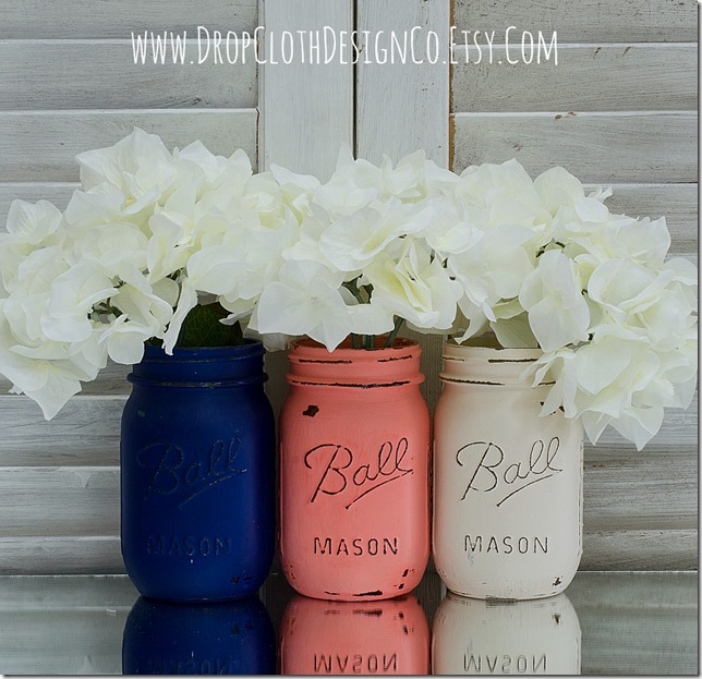 navy-coral-white-mason-jars