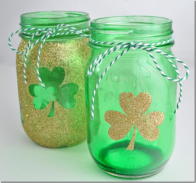 Shamrock-gold-and-green-tinted-mason-jars-for-St.-Pattys-Day1