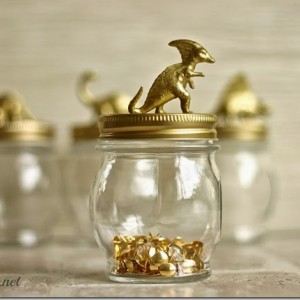 Gold Dinosaur Topped Jars
