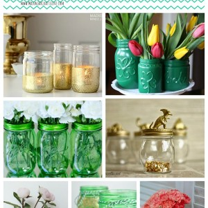 Green & Gold Mason Jars