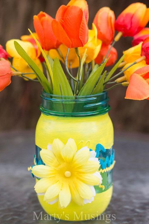 Mason jar vase mason jar crafts love for Mason jar crafts love