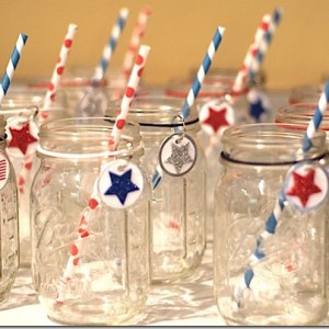 red white blue mason jar