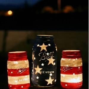 red white blue mason jar