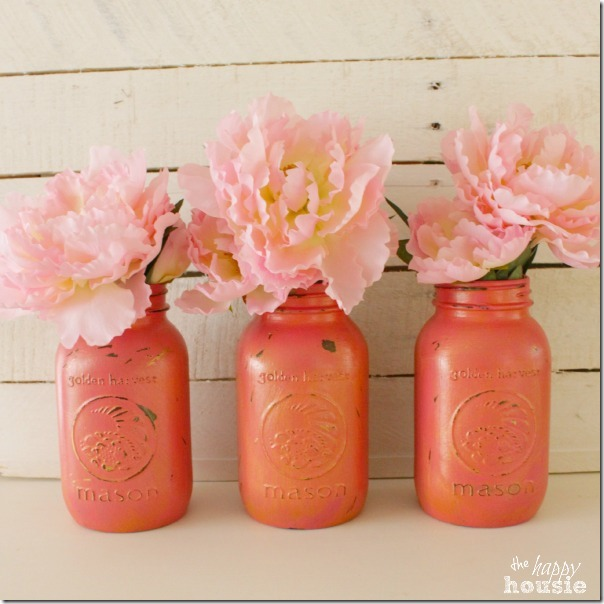 Cherry-Blossom-Chalk-Painted-Mason-Jars-with-Gold-Wax-at-The-Happy-Housie