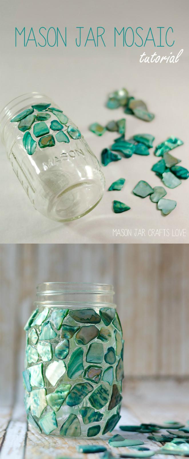 Mosaic Mason Jar - Mason Jar Crafts Love