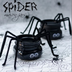 halloween craft spider mason jars