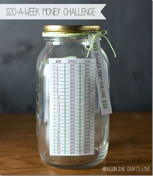 mason jar with list of savings