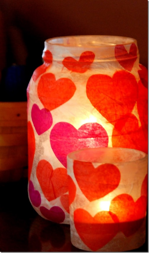 Tissue Paper Votives Mason Jar Crafts Love
