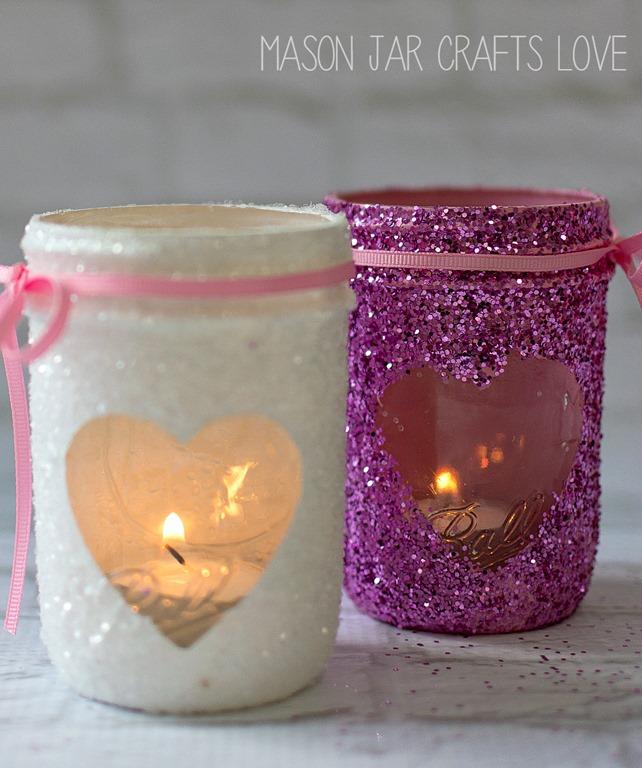 Valentine glitter votives mason jar crafts love for Mason jar crafts love