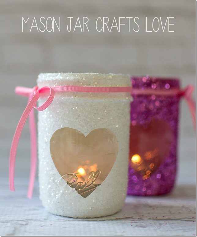Valentine Glitter Votives Mason Jar Crafts Love