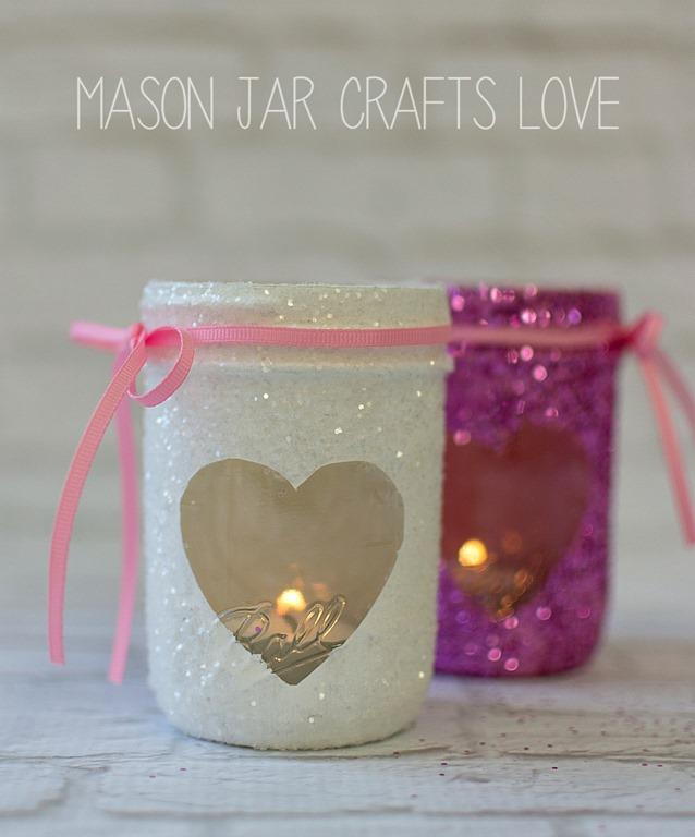 Valentine glitter votives mason jar crafts love for Mason jar candle crafts