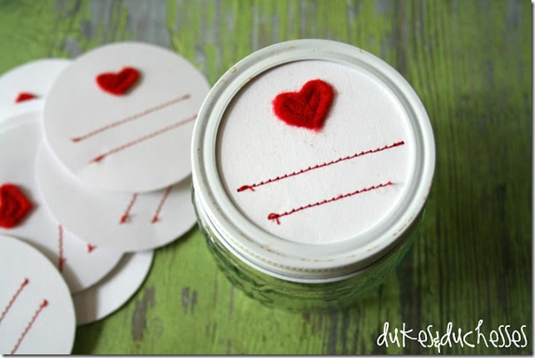 stiched mason jar heart lables at duke & dutchesses